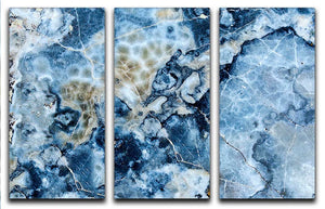 Navy Cracked and Speckled Marble 3 Split Panel Canvas Print - Canvas Art Rocks - 1