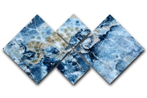 Navy Cracked and Speckled Marble 4 Square Multi Panel Canvas - Canvas Art Rocks - 1