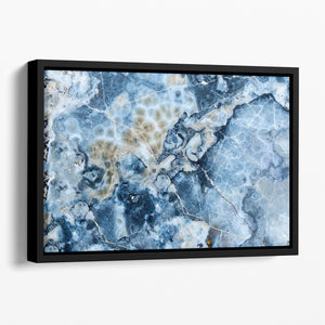 Navy Cracked and Speckled Marble Floating Framed Canvas - Canvas Art Rocks - 1