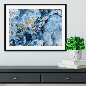 Navy Cracked and Speckled Marble Framed Print - Canvas Art Rocks - 1