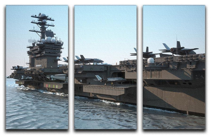 Navy aircraft carrier angled view 3 Split Panel Canvas Print