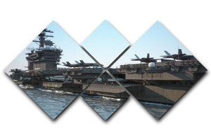 Navy aircraft carrier angled view 4 Square Multi Panel Canvas  - Canvas Art Rocks - 1