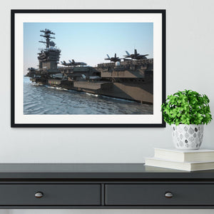 Navy aircraft carrier angled view Framed Print - Canvas Art Rocks - 1