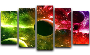 Nebula Stars and Planets 5 Split Panel Canvas  - Canvas Art Rocks - 1