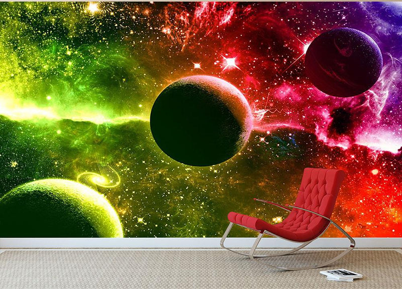 Nebula Stars and Planets Wall Mural Wallpaper - Canvas Art Rocks - 1