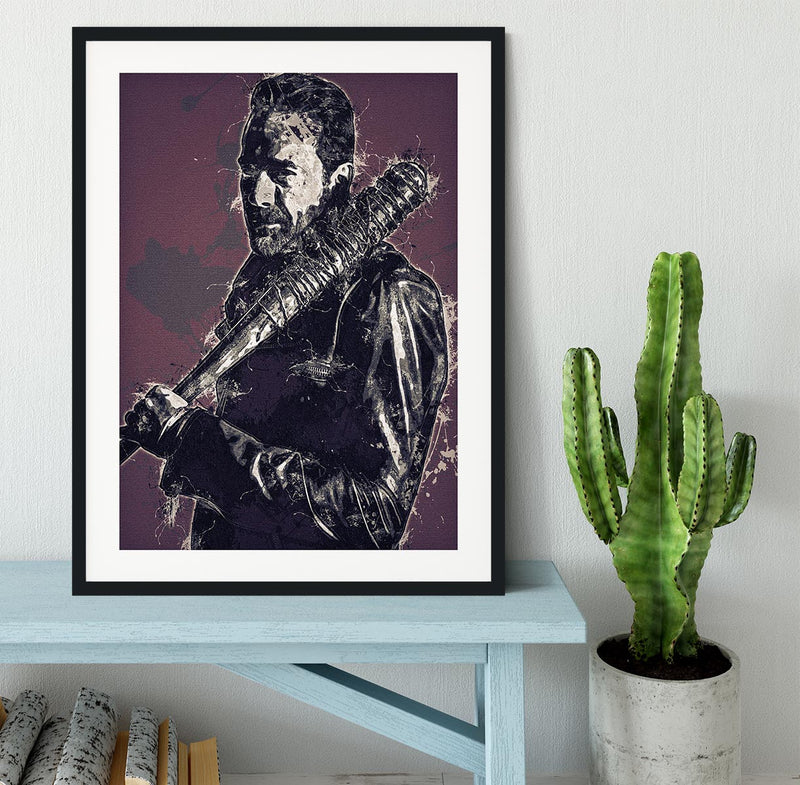 Negan Pop Art Framed Print - Canvas Art Rocks - 1