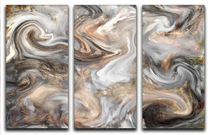 Neutral Stone Swirl Marble 3 Split Panel Canvas Print - Canvas Art Rocks - 1