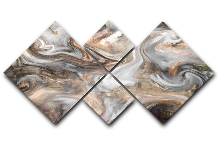 Neutral Stone Swirl Marble 4 Square Multi Panel Canvas