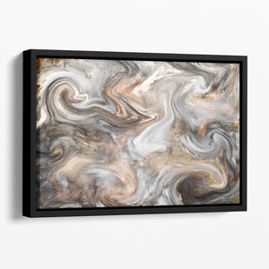 Neutral Stone Swirl Marble Floating Framed Canvas - Canvas Art Rocks - 1