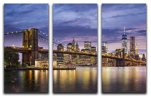 New York City at twilight 3 Split Panel Canvas Print - Canvas Art Rocks - 1