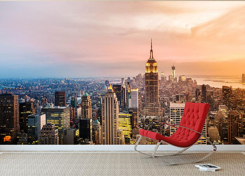 New York City Skyline At Sunset Wall Mural Wallpaper