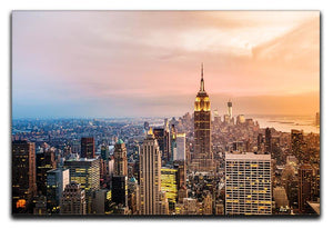 New York skyline skyscrapers at sunset Canvas Print or Poster  - Canvas Art Rocks - 1