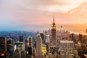 New York skyline skyscrapers at sunset Wall Mural Wallpaper - Canvas Art Rocks - 1
