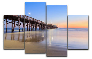 Newport Beach pier after sunset 4 Split Panel Canvas  - Canvas Art Rocks - 1
