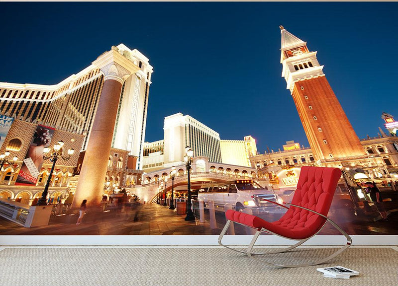 Night scenes from Las Vegas Wall Mural Wallpaper - Canvas Art Rocks - 1