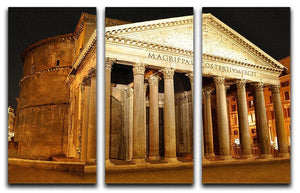 Night view of Pantheon Rome 3 Split Panel Canvas Print - Canvas Art Rocks - 1