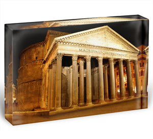 Night view of Pantheon Rome Acrylic Block - Canvas Art Rocks - 1