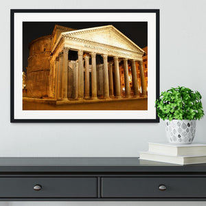 Night view of Pantheon Rome Framed Print - Canvas Art Rocks - 1