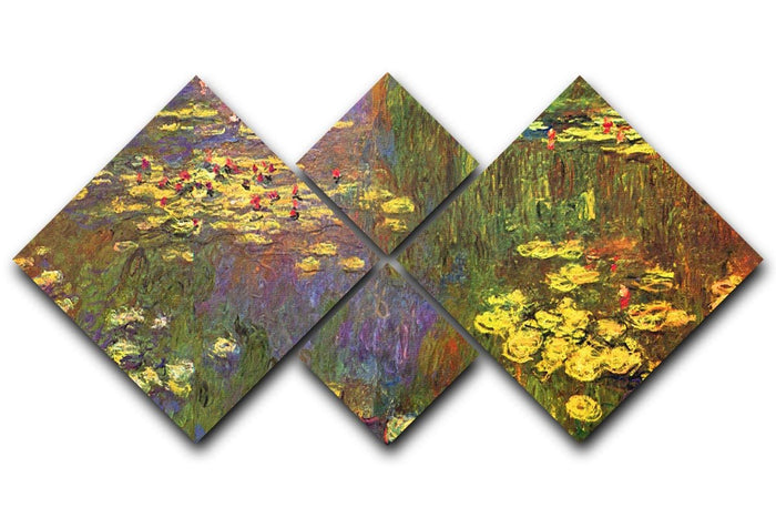 Nympheas water plantes by Monet 4 Square Multi Panel Canvas