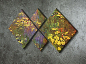 Nympheas water plantes by Monet 4 Square Multi Panel Canvas - Canvas Art Rocks - 2