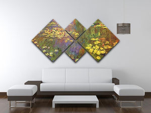 Nympheas water plantes by Monet 4 Square Multi Panel Canvas - Canvas Art Rocks - 3