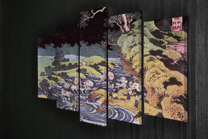Ocean landscape by Hokusai 5 Split Panel Canvas - Canvas Art Rocks - 2