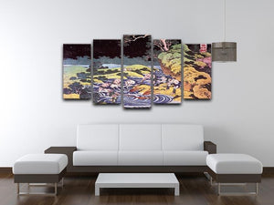 Ocean landscape by Hokusai 5 Split Panel Canvas - Canvas Art Rocks - 3