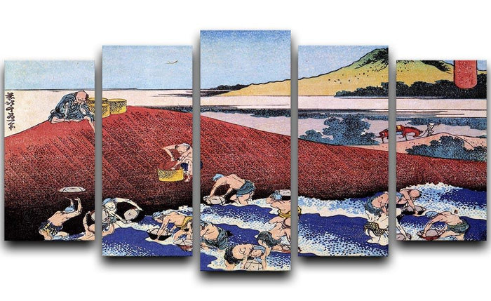 Ocean landscape with fishermen by Hokusai 5 Split Panel Canvas
