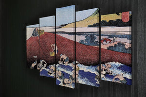 Ocean landscape with fishermen by Hokusai 5 Split Panel Canvas - Canvas Art Rocks - 2