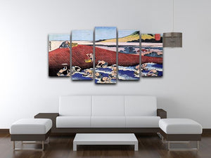 Ocean landscape with fishermen by Hokusai 5 Split Panel Canvas - Canvas Art Rocks - 3