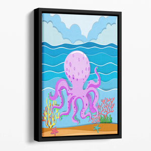 Octopus in the ocean Floating Framed Canvas