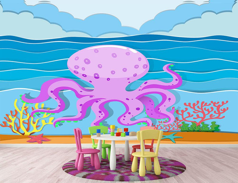 Octopus in the ocean Wall Mural Wallpaper - Canvas Art Rocks - 1