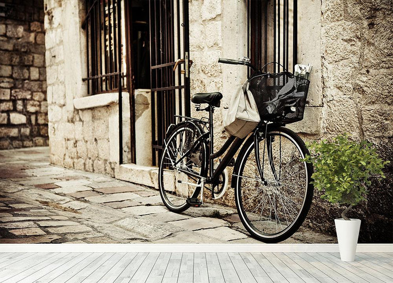 Old bicycle with basket Wall Mural Wallpaper - Canvas Art Rocks - 4