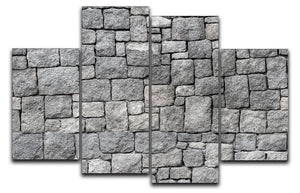 Old gray stone wall 4 Split Panel Canvas - Canvas Art Rocks - 1