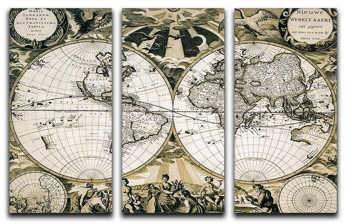 Old paper world map Holland 3 Split Panel Canvas Print