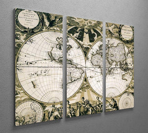 Old paper world map Holland 3 Split Panel Canvas Print - Canvas Art Rocks - 2