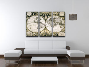 Old paper world map Holland 3 Split Panel Canvas Print - Canvas Art Rocks - 3