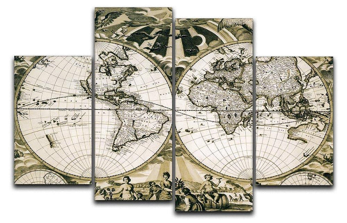 Old paper world map Holland 4 Split Panel Canvas
