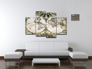 Old paper world map Holland 4 Split Panel Canvas  - Canvas Art Rocks - 3