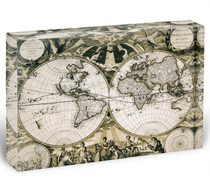 Old paper world map Holland Acrylic Block - Canvas Art Rocks - 1