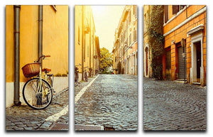 Old street in Rome 3 Split Panel Canvas Print - Canvas Art Rocks - 1
