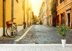 Old street in Rome Wall Mural Wallpaper - Canvas Art Rocks - 4