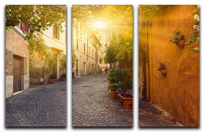 Old street in Trastevere 3 Split Panel Canvas Print - Canvas Art Rocks - 1
