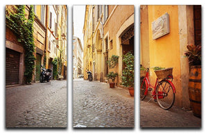 Old streets in Trastevere 3 Split Panel Canvas Print - Canvas Art Rocks - 1