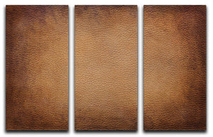 Old vintage brown leather 3 Split Panel Canvas Print - Canvas Art Rocks - 1