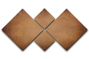 Old vintage brown leather 4 Square Multi Panel Canvas - Canvas Art Rocks - 1