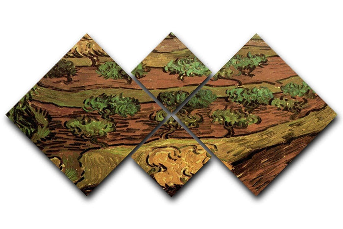 Olive Trees against a Slope of a Hill by Van Gogh 4 Square Multi Panel Canvas