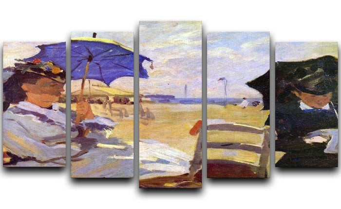 On the beach at Trouville by Monet 5 Split Panel Canvas