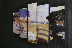 On the beach at Trouville by Monet 5 Split Panel Canvas - Canvas Art Rocks - 2