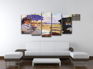 On the beach at Trouville by Monet 5 Split Panel Canvas - Canvas Art Rocks - 3